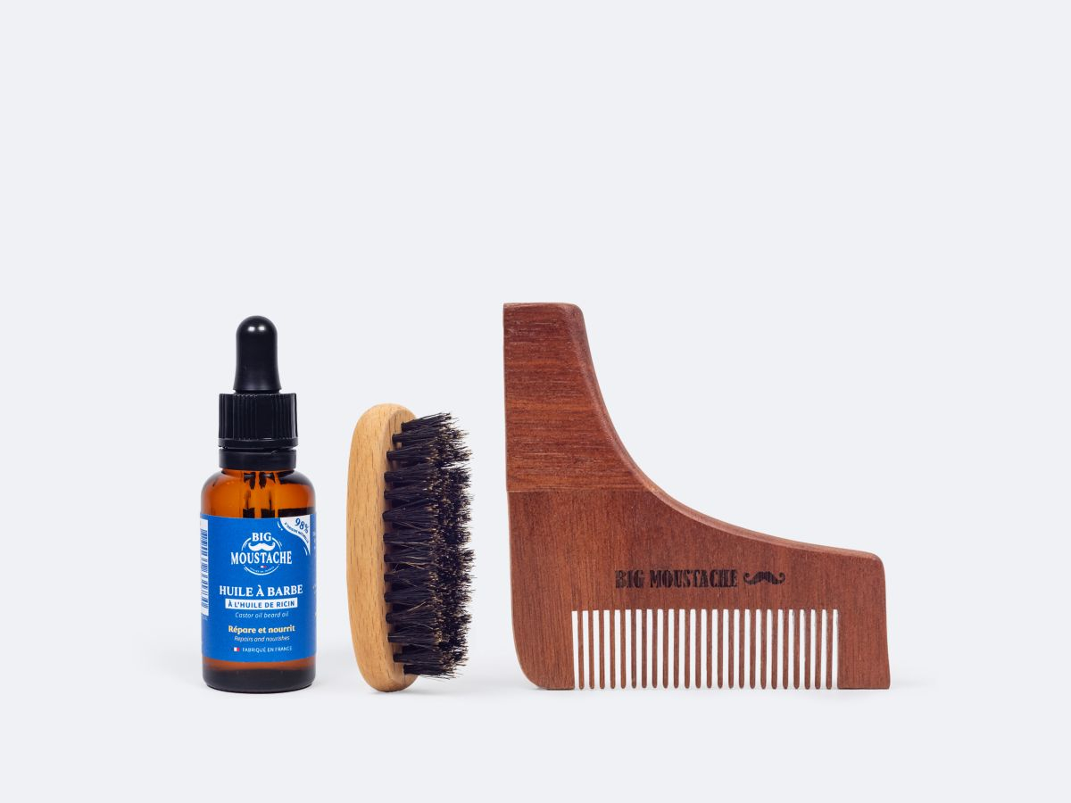 Kit indispensable du barbu + Peigne taille barbe