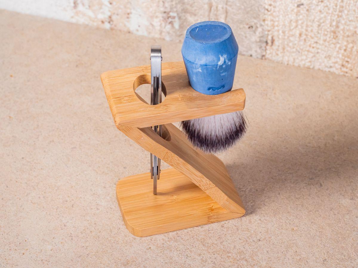 Support rasoir et blaireau en bambou