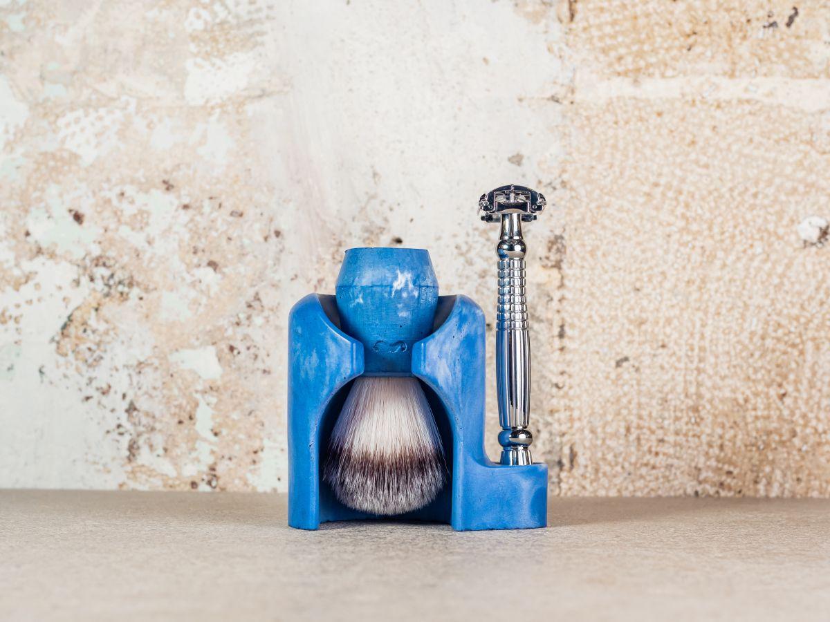 Support rasoir et blaireau en béton + Blaireau de rasage en béton + Rasoir