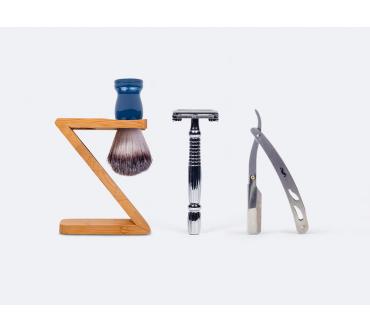 Support rasoir et blaireau en bambou + Blaireau de rasage + Rasoir