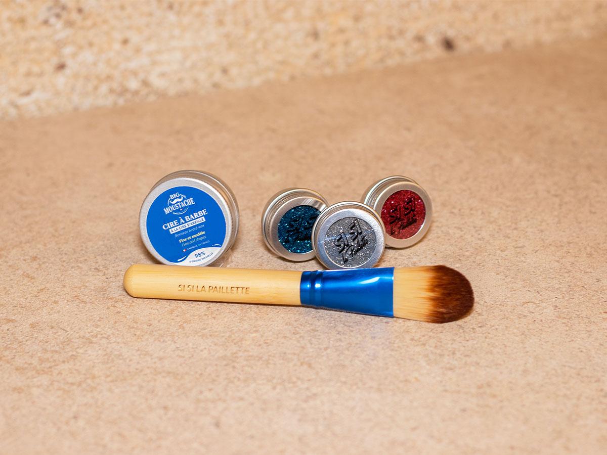 Kit barbe à paillettes biodégradables - Édition cocorico