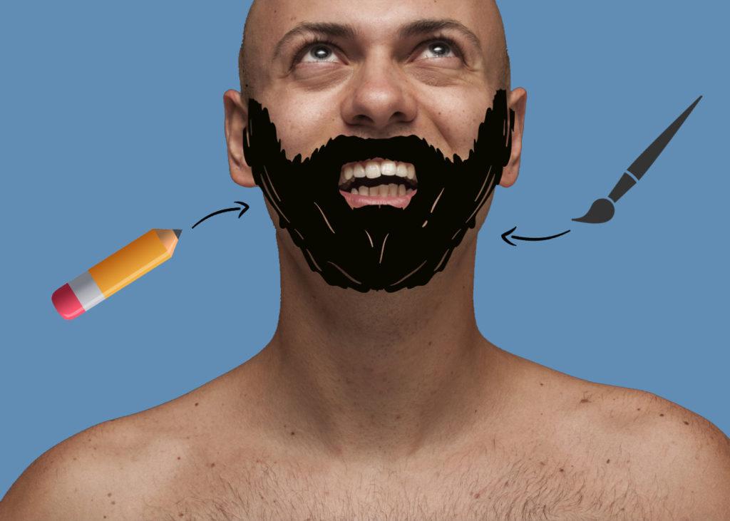 Barbe dessinée contre le double menton